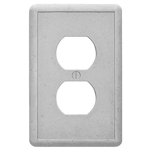 Questech Single Duplex - Gray Outlet Cover Tumbled Textured Electrical Wall Plate