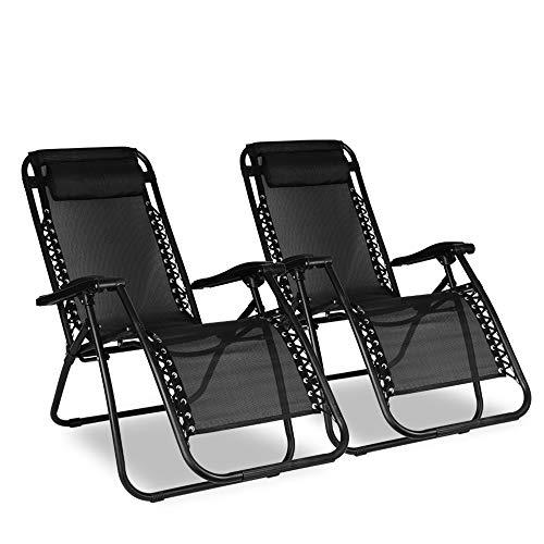 2x Sunloungers, Bigzzia Folding Recliner Garden Chair leisure Beach Chair With headrest For Garden Outdoor Camping
