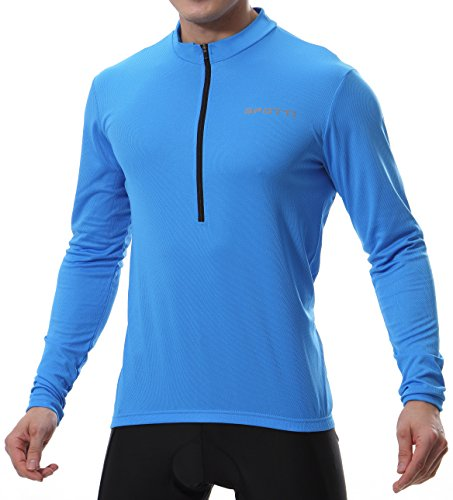 Spotti Men's Long Sleeve Cycling Jersey, Bike Biking Shirt- Breathable and Quick Dry