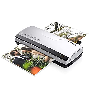 INTEY Thermal Laminator Machine - Two Roller System Rapid Warm-up & Fast Laminate Speed 丨Fit for 3mil/5mil Thick, Letter/Legal/A4 Size Sheets (Gift: Thermal Laminating Pouches 8.9  x 11.4 ,10-Pack)