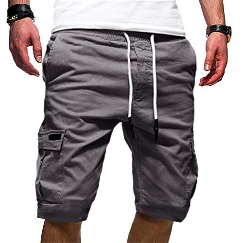 Homebaby Pantaloni Corti da Lavoro Estivi Uomo Sportivo Pantaloncini Coulisse Vintage Loose Pantaloni da Nuoto Spiaggia Basket Running Palestra in Cotone Casual Shorts Cargo
