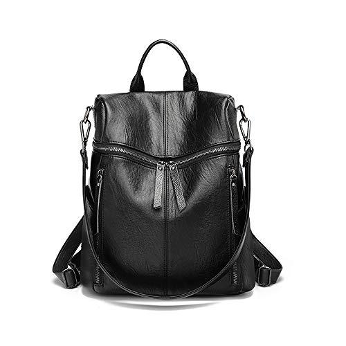 Httzhongchuang Damen-Umhängetasche, Damen-Lederrucksack, Outdoor-Reiserucksack mit hoher Kapazität, schwarz