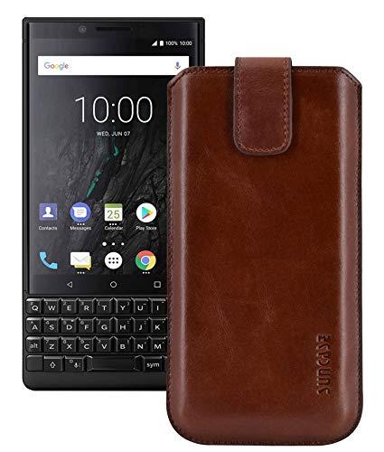 Suncase Original Etui Tasche für BlackBerry Key2 LE *Lasche mit Rückzugfunktion* Handytasche Ledertasche Schutzhülle Hülle Hülle in Rustik-Mocca braun
