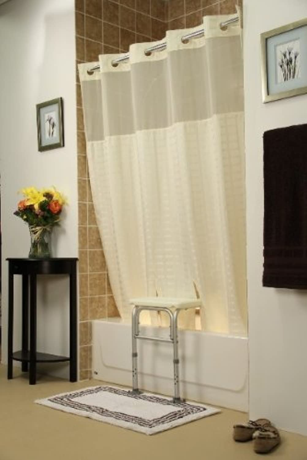 Whitaker Transfer Bench Shower Curtain(color=Beige)