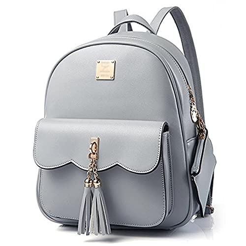 DWE PU Leather Women Backpack,Black Small School Bag Travel Rucksack for Teenage Girls (Grey)