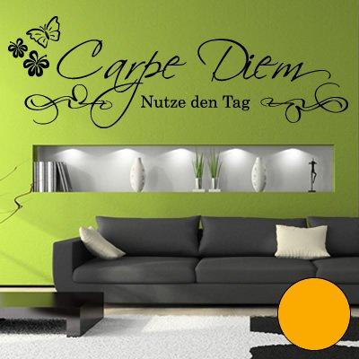 A428 Adhesivo de pared 'Carpe Diem' 90 cm x 30 cm amarillo dorado (disponible en 40 colores y 4 tamaños)