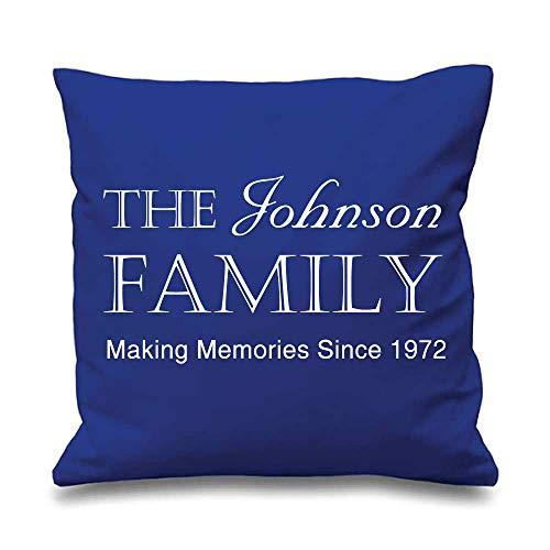 Famille personnalisé Housse de coussin Bleu 40,6 x 40,6 cm New Home Mariage Maman Cadeau Coussin décoratif Maison