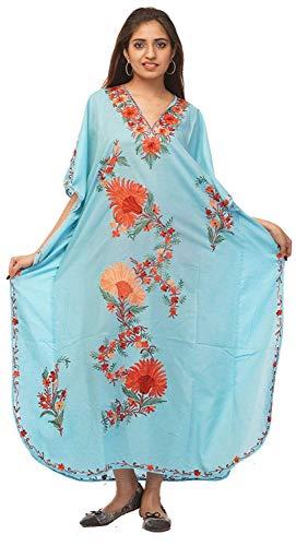 Odishabazaar Cotton Kashmiri Aari Work Designer Kaftan Maxi Dress Beachwear Cover Up (m-HVX)