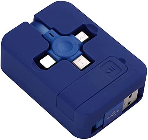 SADFA 1 rollo de cable de carga tres en uno, cable telescópico multifunción de datos de carga rápida para iPhone, tipo C, Android Micro (azul)