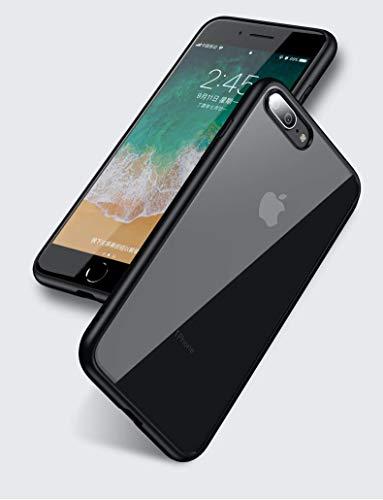 IPAKY - Custodia originale per iPhone 6, iPhone 7 e iPhone 8, con bordi in silicone e parte posteriore in TPU [piacevole al tatto] [protezione contro le cadute, anti-graffio] nero