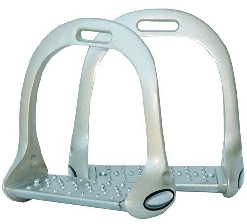 Reitsport Amesbichler AMKA Aluminium Steigbügel Balance rutschfeste Einlagen stabile + perfekte Haltung, Aluminium Stirrups, Silber/goldfarben