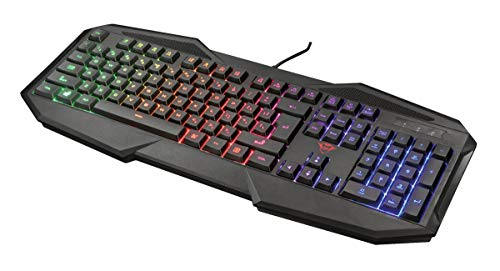 Trust Gaming GXT 830-RW Avonn Gaming Toetsenbord Keyboard (QWERTY Layout, Rainbow Wave LED Verlichting, 12 Multimediatoetsen) Zwart