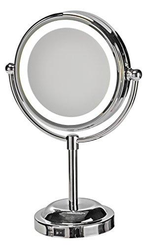 Bagnoxx Miroir de Salle de Bains et Maquillage LED, incluant 5X loupes, équipement Bains Voyage Camping Design Argent STK