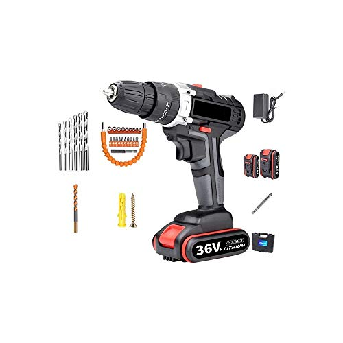 WSMLA Cordless Drill Driver, Power Drill Set Torque Li-Ion Battery, Fast Charging, for Drilling Wood, Metal and Plastic
