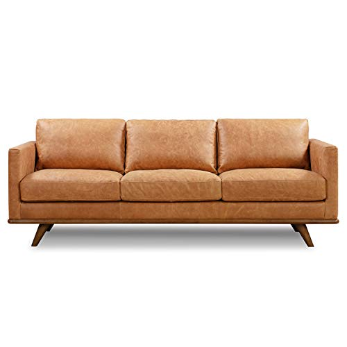 POLY & BARK Nolita Sofa in Full-Grain Pure-Aniline Italian Tanned Leather in Cognac Tan