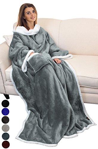 Catalonia TV-Decke Kuscheldecke ganzkörperdecke mit Ärmeln und Taschen zweiseitige Decke Microplush Fleece Sherpa Warme Decken für Erwachsene Frauen Männer Erwachsene 183cm x 140cm, grau