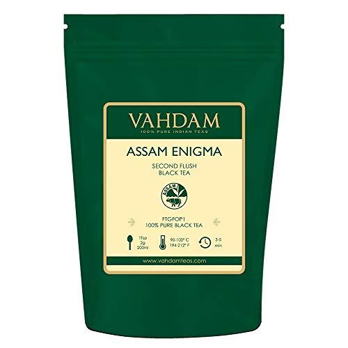 VAHDAM, Assam Enigma Second Flush Tea, 100 gramos (50 tazas) | RICH, MALTA Assam hojas sueltas te | 100% PURE ASSAM Hoja de té negro suelta | Hojas de té negro con consejos de oro
