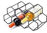 CMCNCBC Black Metal Wine Rack Freestanding, Tabletop Wine Rack Holder, Countertop Wine Bottle Holder - Geometric Design for Wine Cellar Bar Cabinet (Black - 9 Bottles)