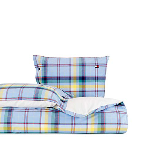 Tommy Hilfiger Madras - Juego de cama (percal, 1 funda nórdica de 155 x 220 cm y 1 funda de almohada de 80 x 80 cm)