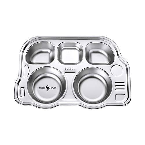SFANK Unterteilter Teller aus Edelstahl, für Babys, Kleinkinder und Kinder, BPA-freies Teller-Set 01