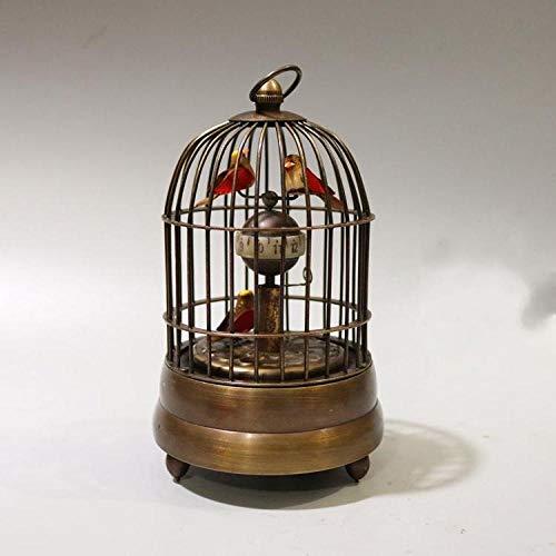 YHNBG Statue Statue Head Sculptures Old Pure Coppper Birdcage Shape Clocks Watch