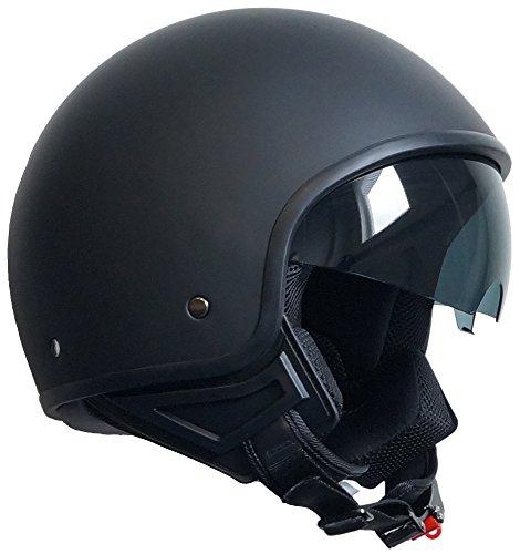 Jethelm Helm Motorradhelm Rollerhelm mit Sonnenblende Chopper RALLOX 710 schwarz/matt S, M, L, XL (S)