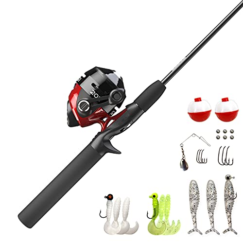 Zebco 202 Spincast Reel and Fishing Rod Combo, 5-Foot 6-Inch 2-Piece Fishing Pole, Size 30 Reel, Right-Hand Retrieve, Pre-Spooled with 10-Pound Cajun Line, Includes 27-Piece Tackle Kit, Black/Red