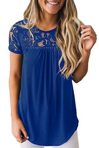 BesserBay Damen T-Shirt Spitze Baumwollshirt Damen Oberteil Elegant Kurzarm Spitzenshirt Kurzarmshirt mit Rundhals, Blau, 38 / M