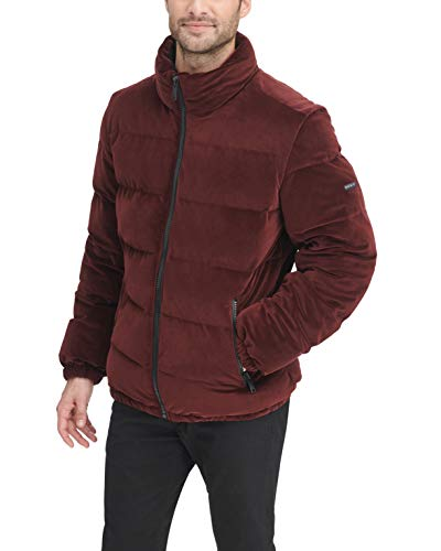 DKNY Men's Quilted Velvet Ultra Loft Puffer Jacket, Burgundy, Medium