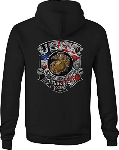 USMC Zip Up Hoodie Marine Corp American Flag Hooded Sweat Shirt Men - 3XL Black
