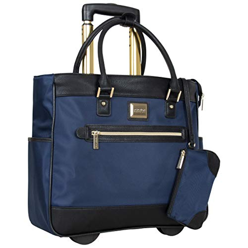"Kenneth Cole Reaction Women's Runway Call 17"" Laptop Anti-Theft RFID Wheeled Business Carry-On Tote, Dark Slate Blue, One Size"