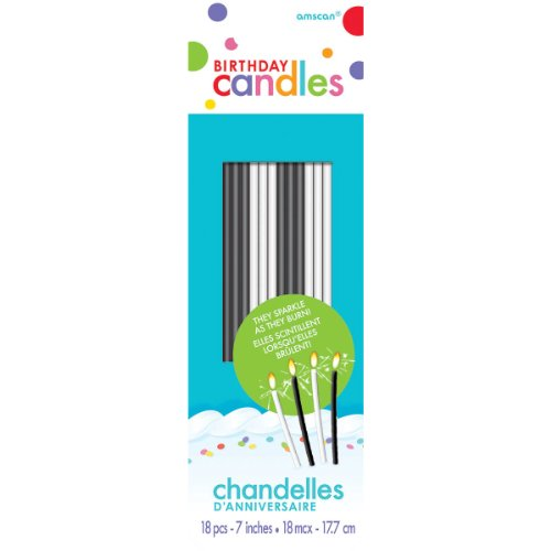 Black And White Sparkle Birthday Cake Candles - 18 Pcs