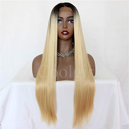 Missyvan straight Blonde synthetic Lace Front WIG ombre 613Blonde Hair WIG Hand Tied Heat Resistant Hair Fashion nero Root