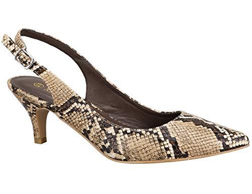 Greatonu Zapatos de Tacón de Aguja Puntiagudo Clásico Básico Diario para Oficina Estampado de Serpiente para Mujer Talla 38 EU