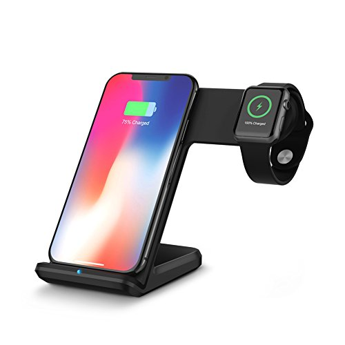 MYGIRLE Wireless Charger, Fast Wireless Charging Stand 2 in 1 Compatible with Apple Watch 4/3/2/1, iPhone XS/XS MAX/X/8/8 Plus, Samsung Galaxy S9/S9+/S8+/Note8 and More,Black