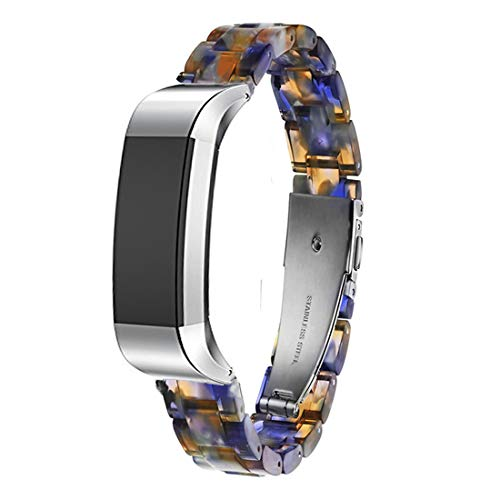 Ayeger Resin Band Compatible with Fitbit Alta/Alta HR/Ace,Women Men Resin Accessory Silver Buckle Band Wristband Strap Blacelet for Fitbit Alta/Alta HR/Ace Smart Watch Fitness(Blue)
