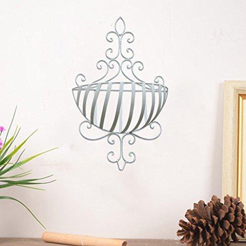 CJH Balcon en fer forgé Tenture murale fleur Wall Wall Tenture murale panier à fleurs Hanging intérieur et extérieur fleur étagère