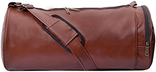 Men S And Women S Synthetic Leather Gym Bag With Shoes Compartment Brown