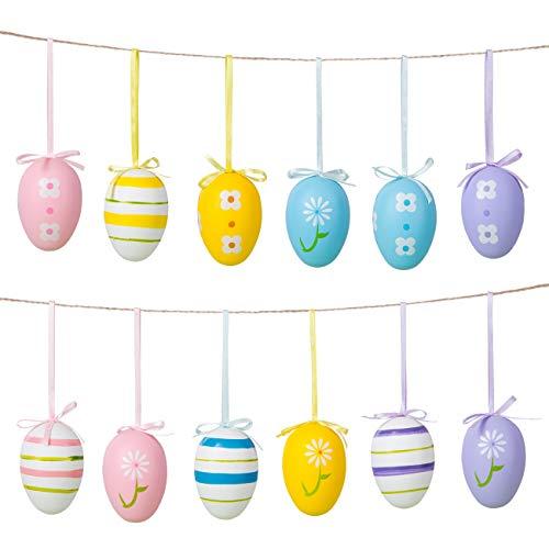 Naler Set di 12 Uova Pasquali Colorate Finte Uova da Appendere Pasquali Uova di 4 Colori Decorazioni di Festa Pasqua, 4X6CM