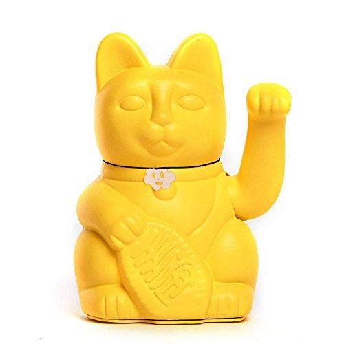 """Gatete. El clásico Gato de la Suerte o la Fortuna o Maneki-Neko en divertidos colores. AMARILLO LIMÓN: """"El dinero viene."""" 12x9x18cm"""