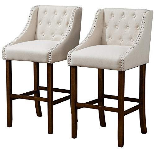 HOMCOM Modern Mid-Back Bar Stools with Nailhead Tufted Upholstery, Counter Dining Chair Set of 2, Beige