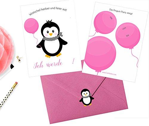 """Cartissimi 6 Schlichte Einladungskarten mit Briefumschlägen und Aufklebern Serie """"Pippa Pinguin"""