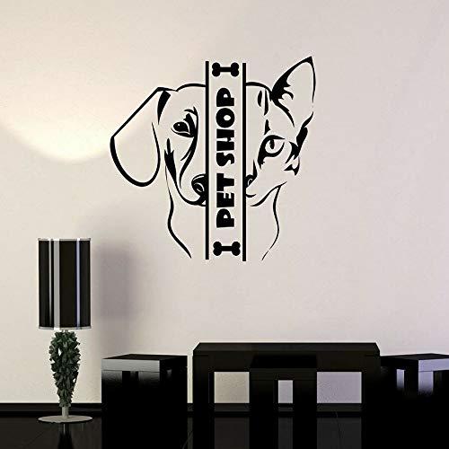 Tienda de mascotas calcomanías de pared animales gatos y perros pegatinas de vinilo para ventanas casa de mascotas decoración de interiores arte mural creativo