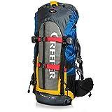 Creeper Zaino Impermeabile 60 litri, Zaino Viaggio Trekking Unisex adulto per Bici Escursionismo Alpinismo Arrampicata Campeggio Arancione