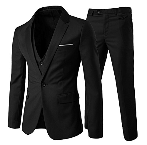 Slim Fit  3-Teilig Business Herrenanzug ein Knopf Smoking,Schwarz, Gr. M