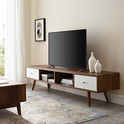 Modway Transmit 70' Mid-Century Modern Media Console Entertainment TV Stand in Walnut White