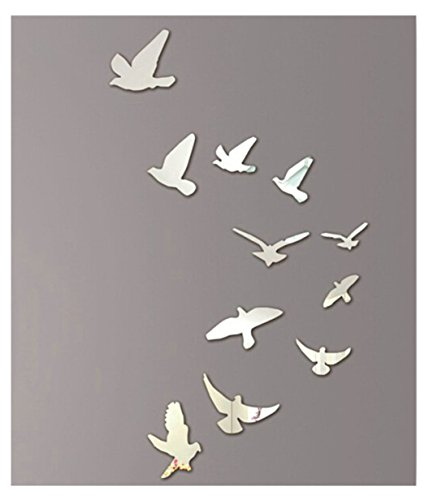 Kangrunmy 3D Oiseau Miroir Stickers Murale, 1 Set (11Pcs Inclus) Plastique éLéGance Autocollant Mural Stickers Muraux Pour Enfants Bebe Garcon Fille Chambre Salle De Bain Cuisine Home Decor Argent