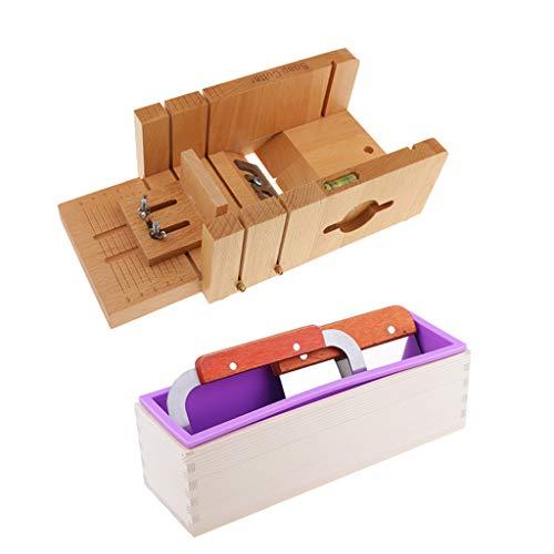 P Prettyia Seifenschneider Handgemachte Seife Cutter Holz und Seifenformen Silikon Quadrat Seifenform handgemachte Platz Silikon mit Seifenschneider