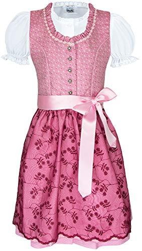 Isar-Trachten Kurzes Kinder Dirndl Bea mit Spitzenschürze - Rosa Pink Gr. 146