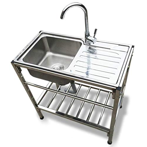 Stainless Steel Sink in Commercial Kitchen,Free Standing Utility Sink with with Drainboard,Suitable for Bathroom Laundry Room Indoor Outdoor Kitchen